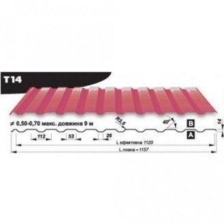 Профнастил кровельный Pruszynski Т14 мат полиэстер 0,5*1157*9000 мм Польша (RAL3005/винный красный)