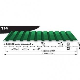 Профнастил кровельный Pruszynski Т14 полиэстер 0,5*1157*9000 мм Польша (RAL6020/хромово-зеленый)