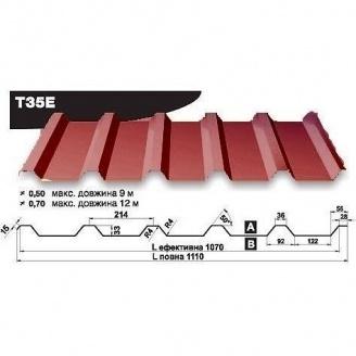 Профнастил стеновой Pruszynski Т35Е мат полиэстер 0,5*1110*9000 мм Польша (RAL3005/винный красный)
