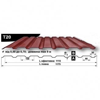 Профнастил стеновой Pruszynski T20 Purmat 0,5*1175*9000 мм Польша (RAL8004/медно-коричневый)
