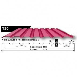 Профнастил стеновой Pruszynski T20 полиэстер 0,5*1175*9000 мм Польша (RAL3016/коралово-красный)