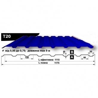Профнастил стеновой Pruszynski T20 полиэстер 0,5*1175*9000 мм Польша (RAL5002/ультрамариново-синий)
