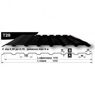Профнастил стеновой Pruszynski T20 полиэстер 0,5*1175*9000 мм Польша (RAL9004/сигнально-черный)
