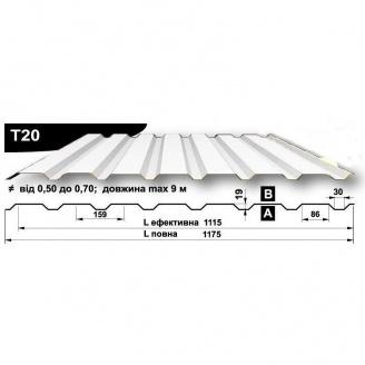 Профнастил стеновой Pruszynski T20 полиэстер 0,5*1175*9000 мм Польша (RAL9002/серый белый)