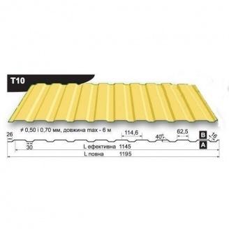 Профнастил стеновой Pruszynski T10 полиэстер 0,5*1195*6000 мм Польша (RAL1003/сигнально-желтый )