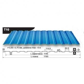 Профнастил стеновой Pruszynski T10 полиэстер 0,5*1195*6000 мм Польша (RAL5002/ультрамариново-синий)