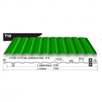 Профнастил стеновой Pruszynski T10 полиэстер 0,5*1195*6000 мм Польша (RAL6005/зеленый мох)
