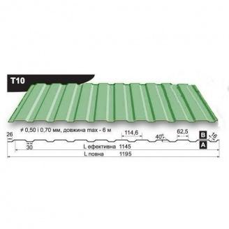 Профнастил стеновой Pruszynski T10 полиэстер 0,5*1195*6000 мм Польша (RAL6002/зеленый лист)