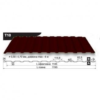 Профнастил стеновой Pruszynski T10 полиэстер 0,5*1195*6000 мм Польша (RAL8017/шоколадный)