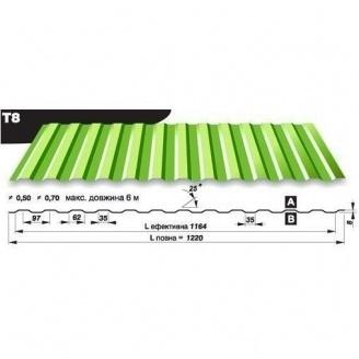 Профнастил стеновой Pruszynski T8 полиэстер 0,5*1220*6000 мм Польша (RAL6002/зеленый лист)