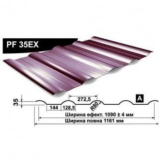 Профнастил стеновой Pruszynski PF 35EX мат полиэстер 1161 мм Польша (RAL3005/винный красный)