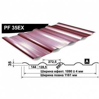 Профнастил стеновой Pruszynski PF 35EX мат полиэстер 1161 мм Польша (RAL8004/медно-коричневый)