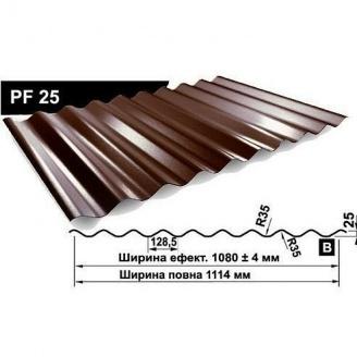 Профнастил стеновой Pruszynski PF 25 полиэстер 1114 мм Польша (RAL8017/шоколадный)