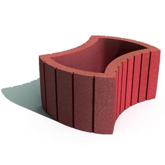 Цветочница круглая Золотой Мандарин на сером цементе 660х450х250 мм красный