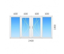 Окно 4-створчатое ALMplast с двухкамерным стеклопакетом 2400х1400 мм