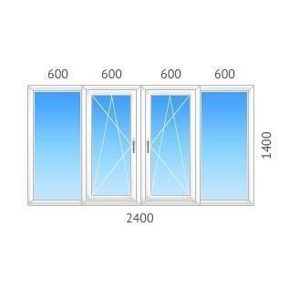 Окно 4-створчатое REHAU-60 с двухкамерным стеклопакетом 2400х1400 мм