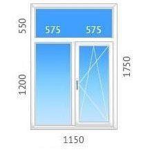 Окно Т-образное ALMplast с однокамерным стеклопакетом 1150х1750 мм