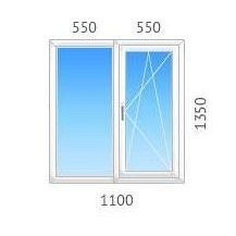 Окно двустворчатое REHAU-60 с двухкамерным стеклопакетом 1100х1350 мм