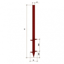 Паля гвинтова дволопатева 57х2400 мм