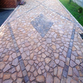 Камень тротуарний кварцито-песчаник рыже-розовый