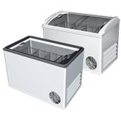 Холодильный ларь с гнутыми и прямыми раздвижными стеклами РОСС 1345х655х810/870 мм 400 л