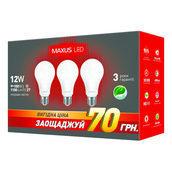 Комплект светодиодных ламп MAXUS 3-LED-336-01 A65 12W 4100K 220V E27 AP