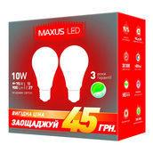 Комплект светодиодных ламп MAXUS 2-LED-146-01 A60 10W 4100K 200V E27 AP