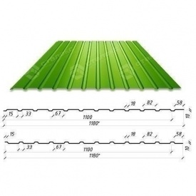 Профнастил Сталекс С-10 1180/1100 мм 0,50 мм PE Россия (Северсталь) (RAL6002/зеленый лист)