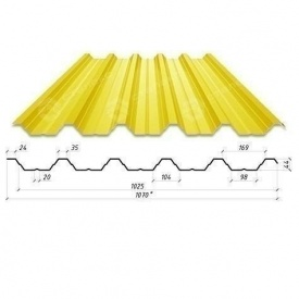 Профнастил Сталекс Н-44 1070/1025 мм 0,70 мм PE Польша (Acelor Mittal) (RAL1003/сигнально-желтый )