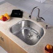 Комплект кухонный Kraus KBU10-KPF2121-SD20 умывальник+смеситель