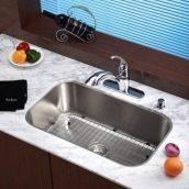 Комплект кухонный Kraus KBU14-KPF2210СH-KSD30СH умывальник+смеситель