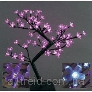 Светодиодное дерево Бонсай Цветущая сакура 45 см розовое