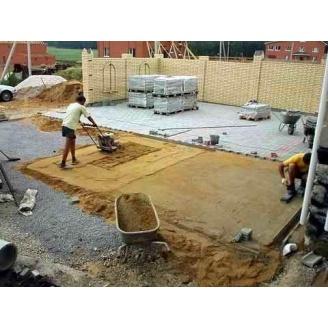 Укладка тротуарной плитки на основание