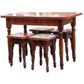 Кухонний комплект стіл розсувний з табуретами 1000x600x745 мм горіх