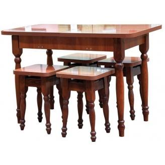 Кухонный комплект стол раздвижной с табуретами 1000x600x745 мм орех
