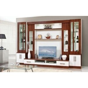 Стенка для гостиной Мир мебели Онтарио 3 320x220x60 см кальвадос/белый глянец