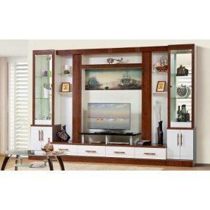 Стенка для гостиной Мир мебели Онтарио 4 340x230x55 см кальвадос/белый глянец