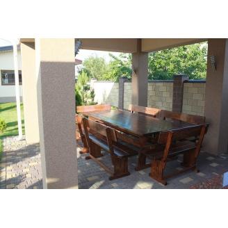Комплект деревянной мебели для беседки с шестью лавочками 2500х1200 мм