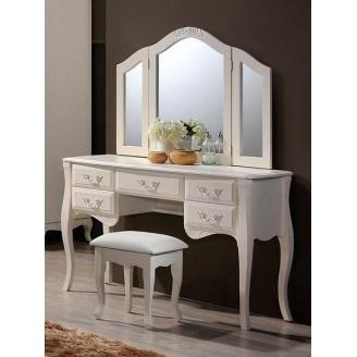 Будуарный столик Domini Богемия+Зеркало+Пуф 1215х430х760 мм античный белый