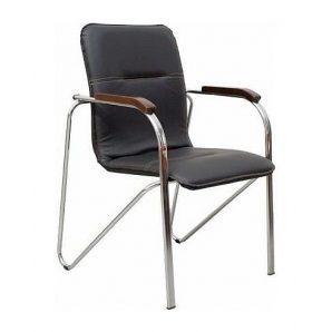 Офисный стул AMF Самба орех Скаден черный без канта 610х615х890 мм хром