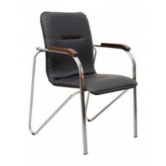 Офісний стілець AMF Самба горіх Скаден чорний без канта 610х615х890 мм хром