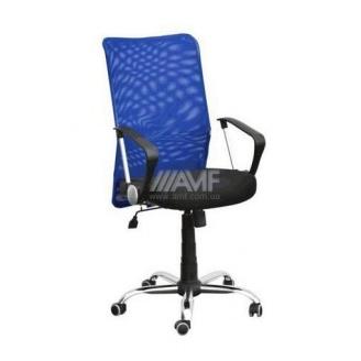 Офісне крісло AMF Аеро HB Line сидіння Сітка чорна Неаполь N-20 / спинка Сітка синя 650х650х1170 мм