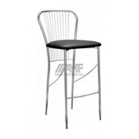 Барный стул AMF Цезарь Хокер Кожзам черный 440х520х1020 мм хром