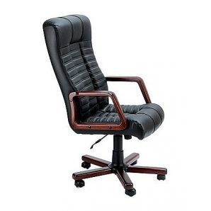 Крісло AMF Атлантіс Екстра шкіра Спліт чорна 62x84x115 см горіх