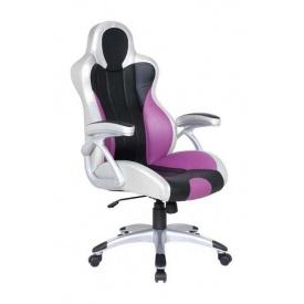 Кресло AMF Форсаж 4 PU серебро 71x72x123 см черные и сиреневые вставки