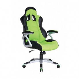 Кресло AMF Форсаж 3 PU черный 70x72x122 см зеленые вставки