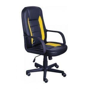 Кресло AMF Дрифт PU черный 63x60x100 см желтые вставки
