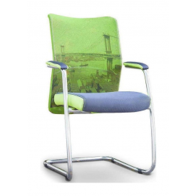 Кресло AMF Аэро CF сетка серая Zeus 047 Light Green/сетка лайм-Brooklyn Bridge 57x62x96 см хром