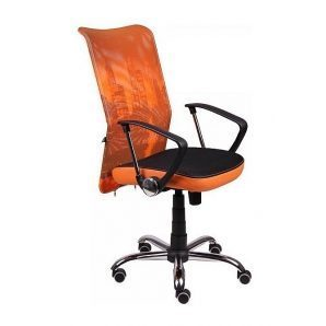 Кресло AMF Аэро HB сетка черная Zeus 045 Orange/сетка лайм-Skyline 64x75x104 см