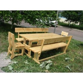 Комплект деревянной мебели в стиле эко натурального цвета